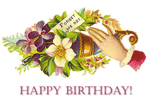 Forget-me-not-flowers-vintage-birthday-card